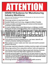 """Attention Ten Steps Manufacture Workers Can Take to Reduce Risk of Exposure to Coronavirus Poster 12"""" X 16"""" Poster"""