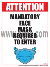 """Mandatory Face Mask Required to Enter Poster 12"""" x 16"""" Laminated"""