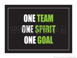 "One Team One Spirit One Goal 18"" x 24"" Laminated Motivational Poster"