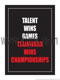 "Talent Wins Games Teamwork Wins Championships 18"" x 24"" Laminated Motivational Poster"