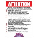 "Attention Ten Steps to Reduce Risk of Exposure for Retail Workers to Coronavirus 12"" X 16"" Poster"