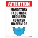 "Mandatory Face Mask Required No Mask No Service Poster 12"" x 16"" Laminated"