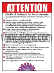 """Attention Ten Steps to Reduce Risk of Exposure for Retail Workers to Coronavirus 12"""" X 16"""" Poster"""