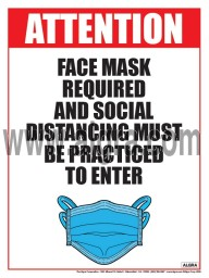 Attention Face Mask Required and Social Distancing must be Practiced to Enter Poster