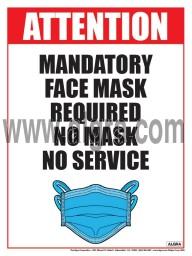 "Mandatory Face Mask Required No Mask No Service Poster 12"" x 16"" Laminated"