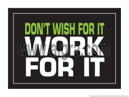 """Don't Wish for it Work for it 18"""" x 24"""" Laminated Inspirational Poster"""