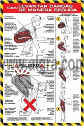 How to lift Safely 24 x 36 Poster Spanish