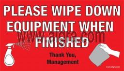Wipe Down Equipment Sticker