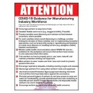 "Attention Ten Steps Manufacture Workers Can Take to Reduce Risk of Exposure to Coronavirus Poster 12"" X 16"" Poster"