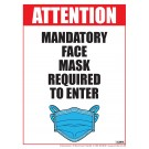 "Mandatory Face Mask Required to Enter Poster 12"" x 16"" Laminated"