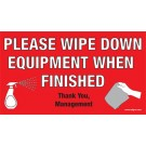 Wipe Down Equipment Sticker